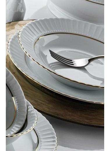 Kütahya Porselen Kütahya porselen tabak sedef yaldızlı 25 cm.servis tabağı 12 li Renkli